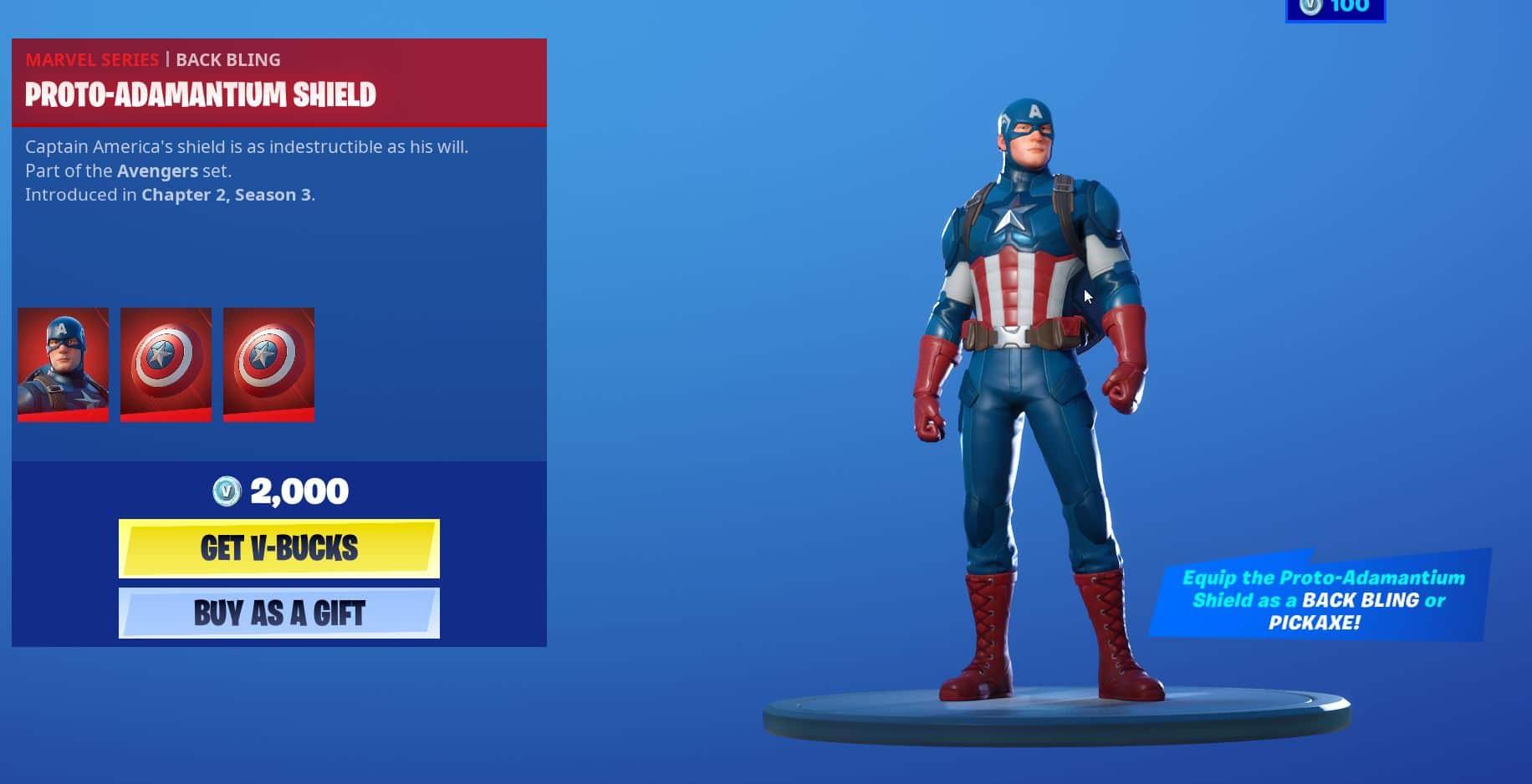 Fortnite Captain america skin