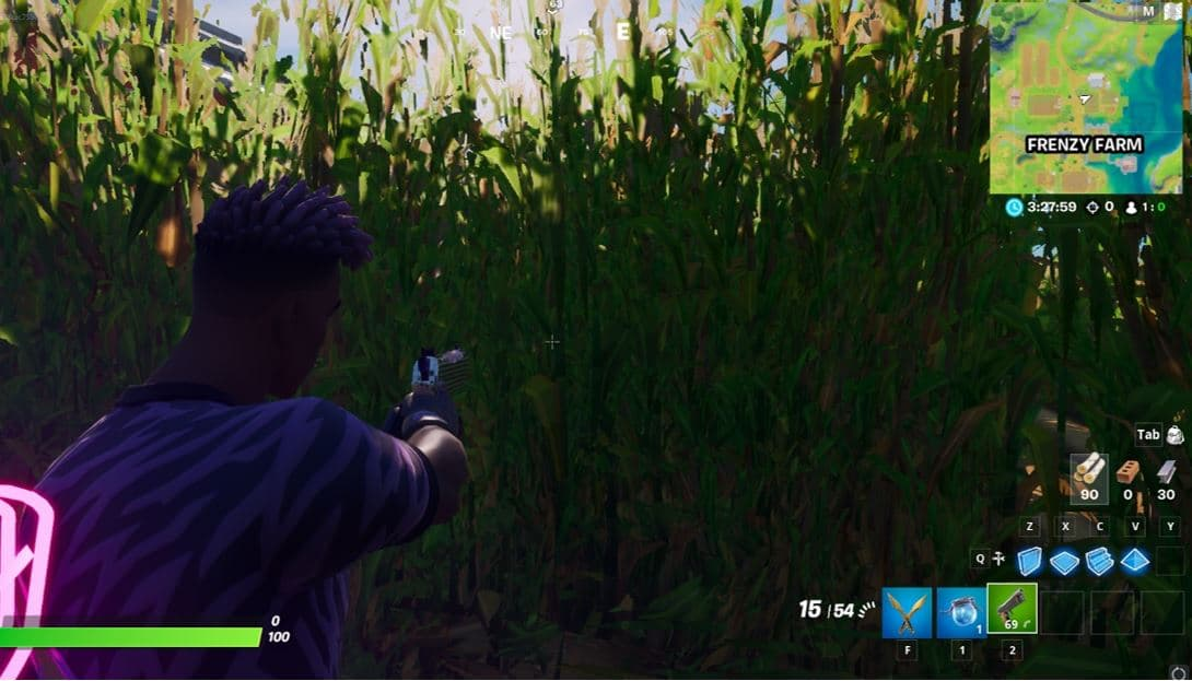 Fortnite Deal damage from inside a cornfield at Frenzy Farm