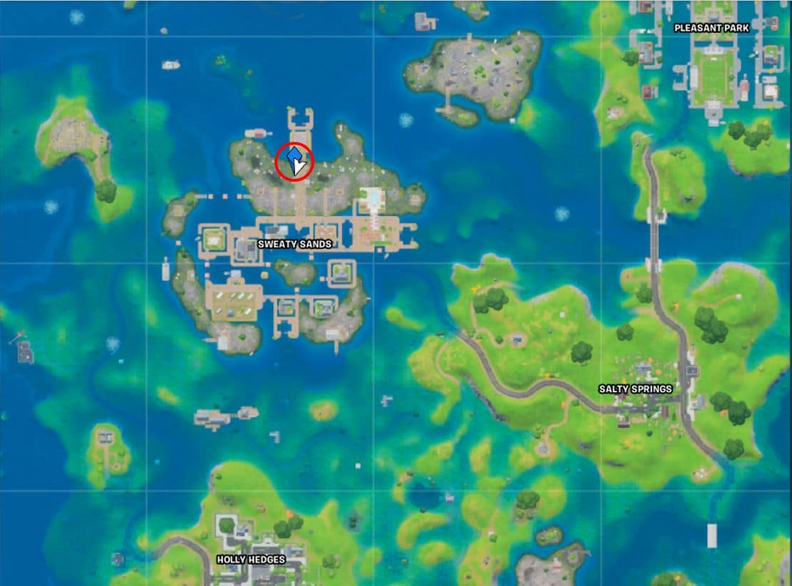 Fortnite Sweaty Sands Camera Map Location