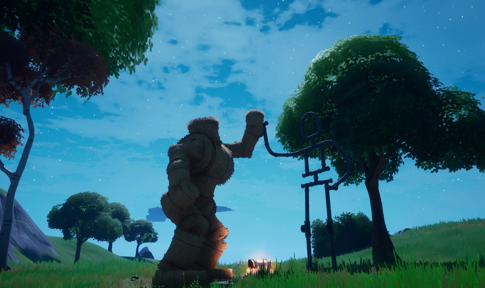 Emote as Groot at a friendship monument Fortnite