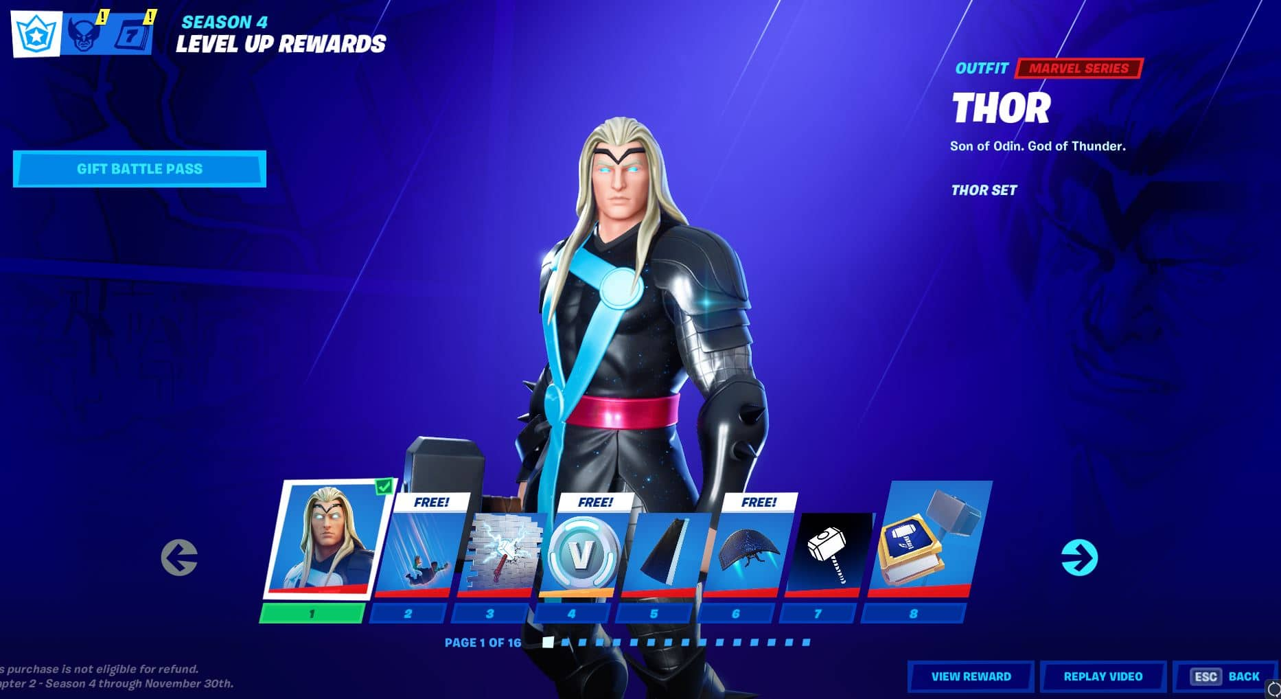 Fortnite Chapter 2, Season 4 Battle Pass Level 1 - 8