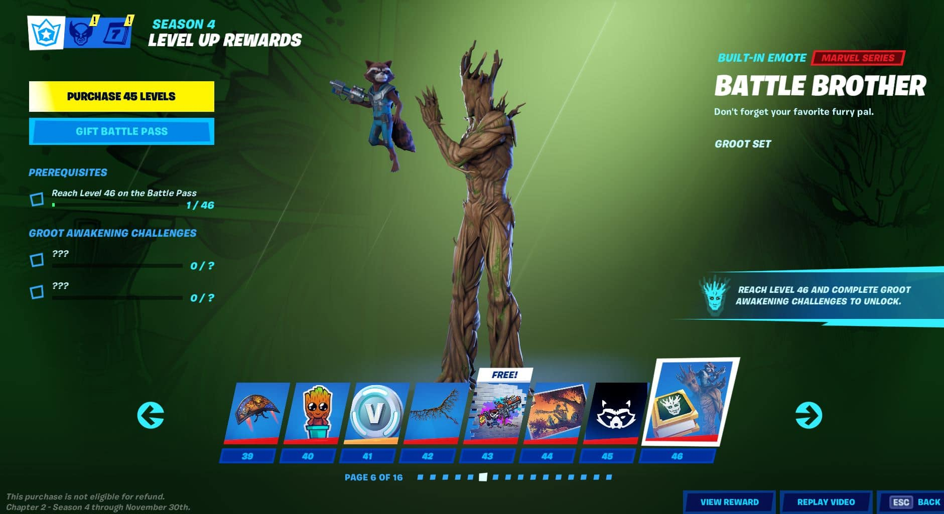 Fortnite Chapter 2, Season 4 Battle Pass Level 39 - 46