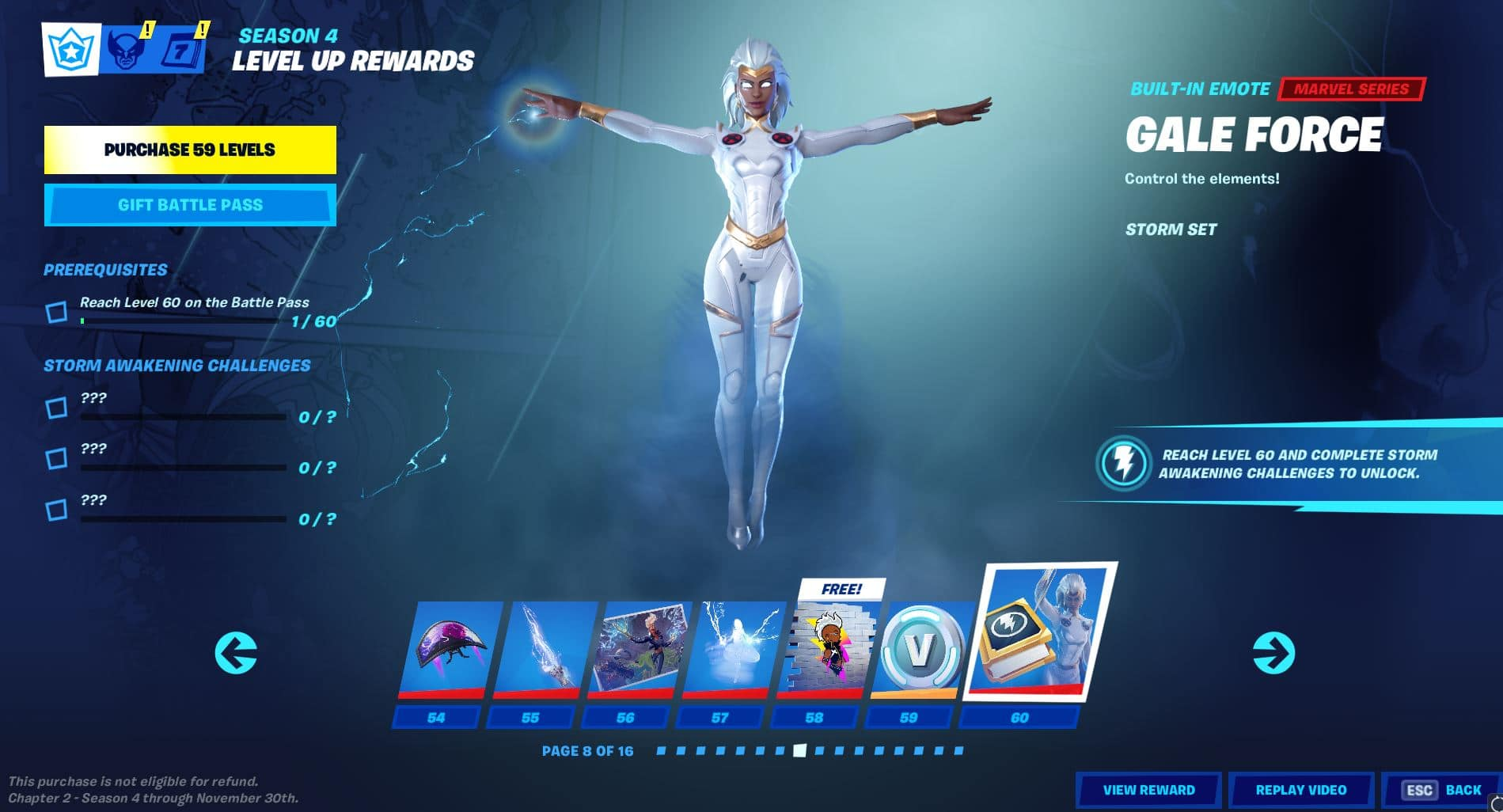 Fortnite Chapter 2, Season 4 Battle Pass Level 54 - 60