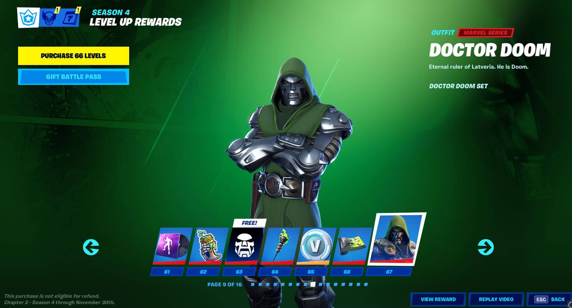 Fortnite Chapter 2, Season 4 Battle Pass Level 61 - 67