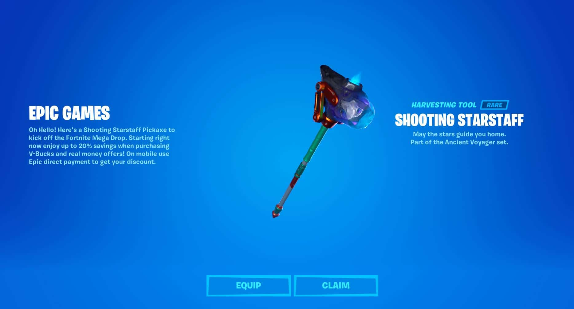 Free Fortnite Shooting Starstaff Pickaxe
