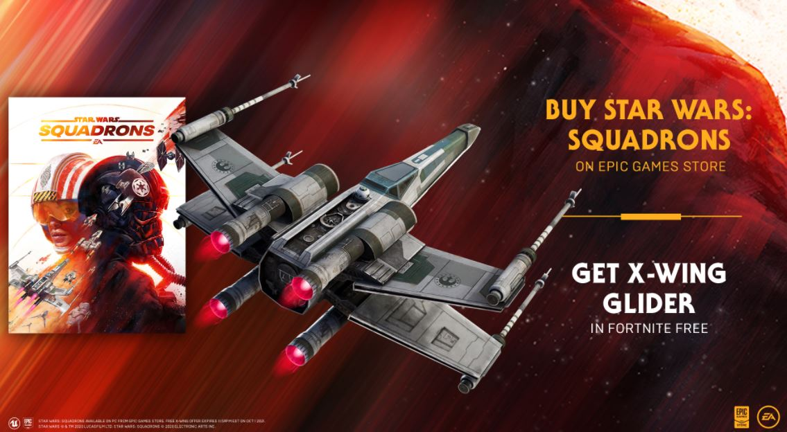 Fortnite Vanguard Squadron X-wing glider for free