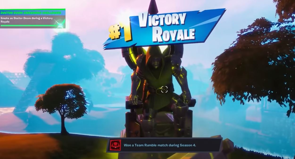 emote as doctor doom during a victory royale