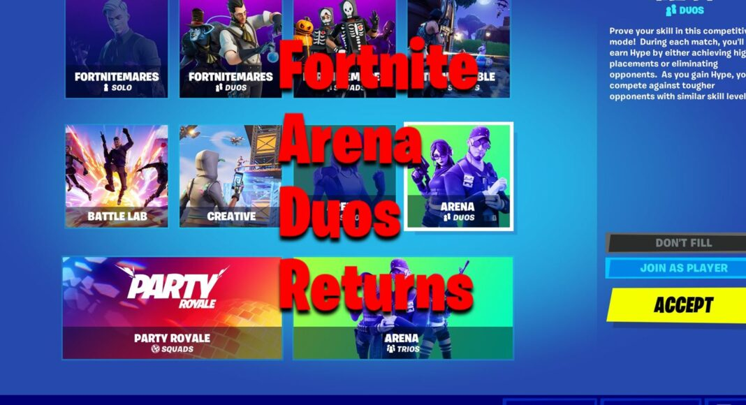Arena Duos Fortnite Returns