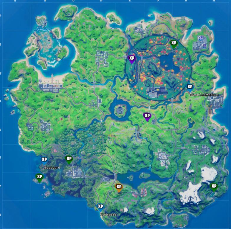 Fortnite Season 4 Week 8 All XP Coin Locations Map