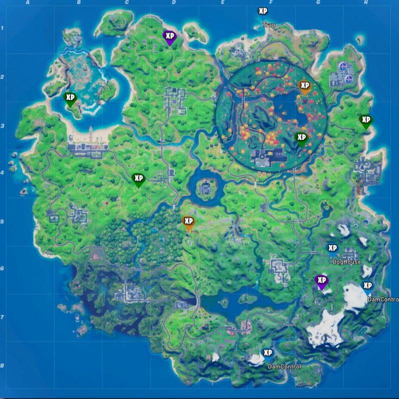 Fortnite Season 4 Week 9 All XP Coin Locations Map
