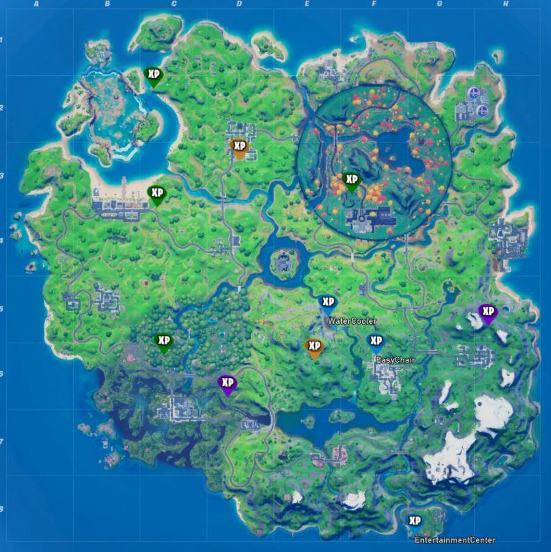 Mapa de monedas de XP de la semana 10 de Fortnite de todas las ubicaciones