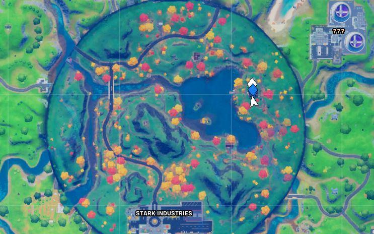 Posizione sulla mappa Fortnite di Hidden Lake House di Tony Stark