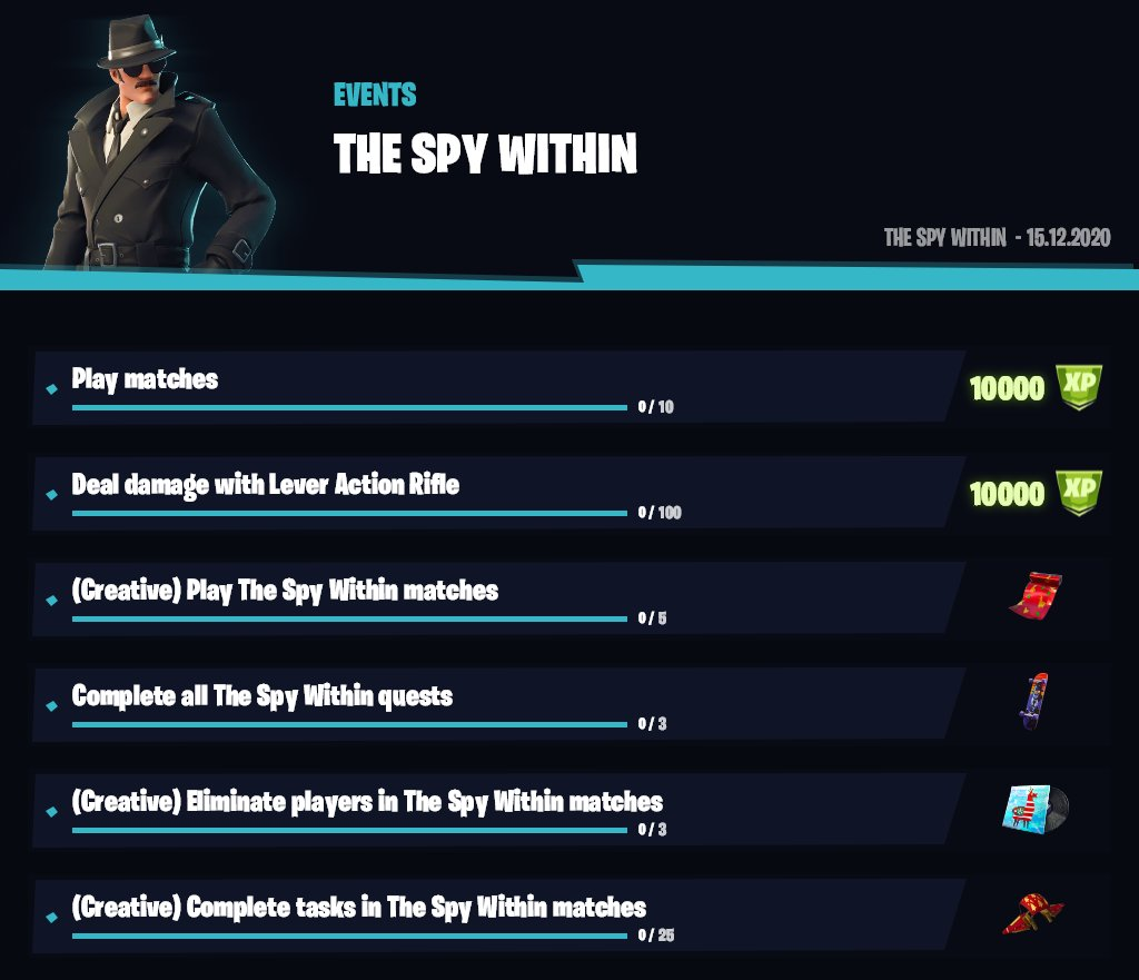 Fortnite Spy Within Challenges and Rewards