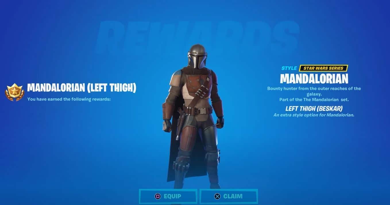 muslo izquierdo Beskar Mandalorian Fortnite pieza de armadura