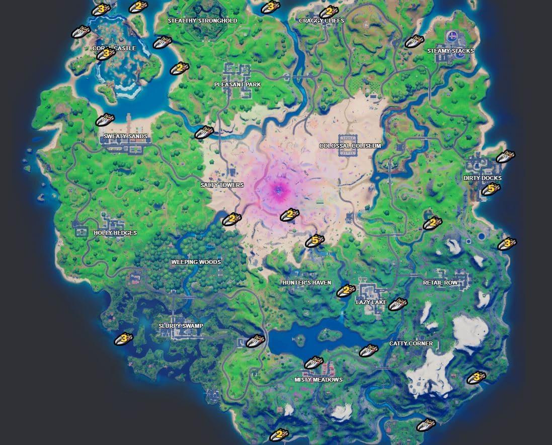 Ubicación del mapa de lancha motora Fortnite