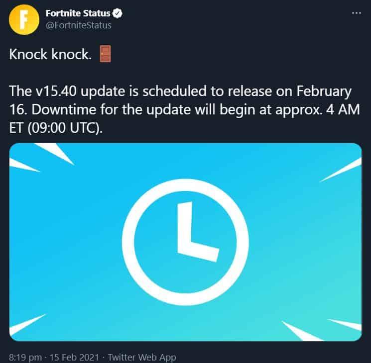 15.40 Fortnite update