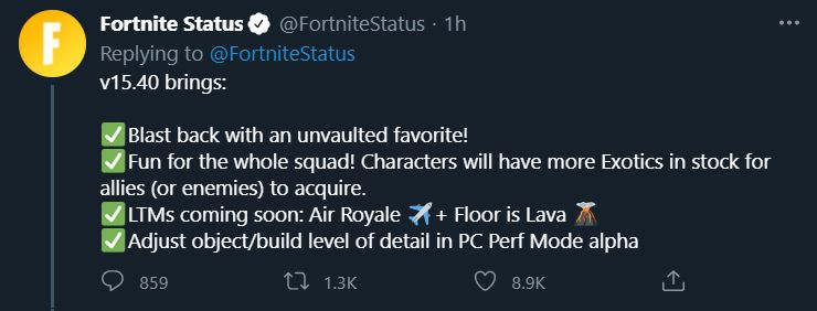 New Fortnite Update v15.40