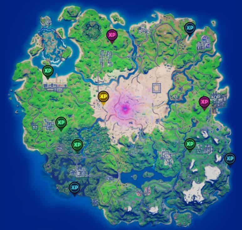Mapa de monedas de XP de la semana 14 de Fortnite