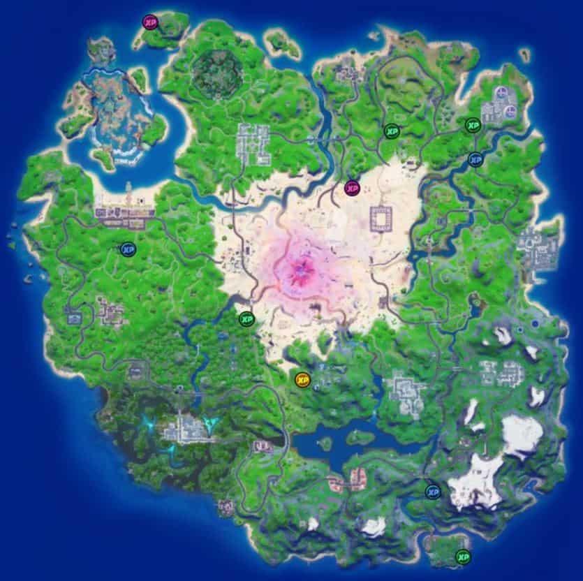 Mapa de ubicaciones de monedas XP de la semana 15 de Fortnite